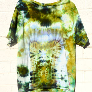 Chartreuse Camouflage Black tie Dyed T Shirt 2XL